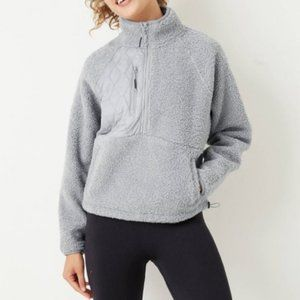 Joy Lab Women Medium Grey Sherpa Fleece Sweatshirt
